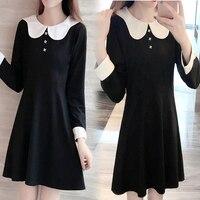 5xl Thin New Petals Cute Sweet Black Party Dress Female Q0095