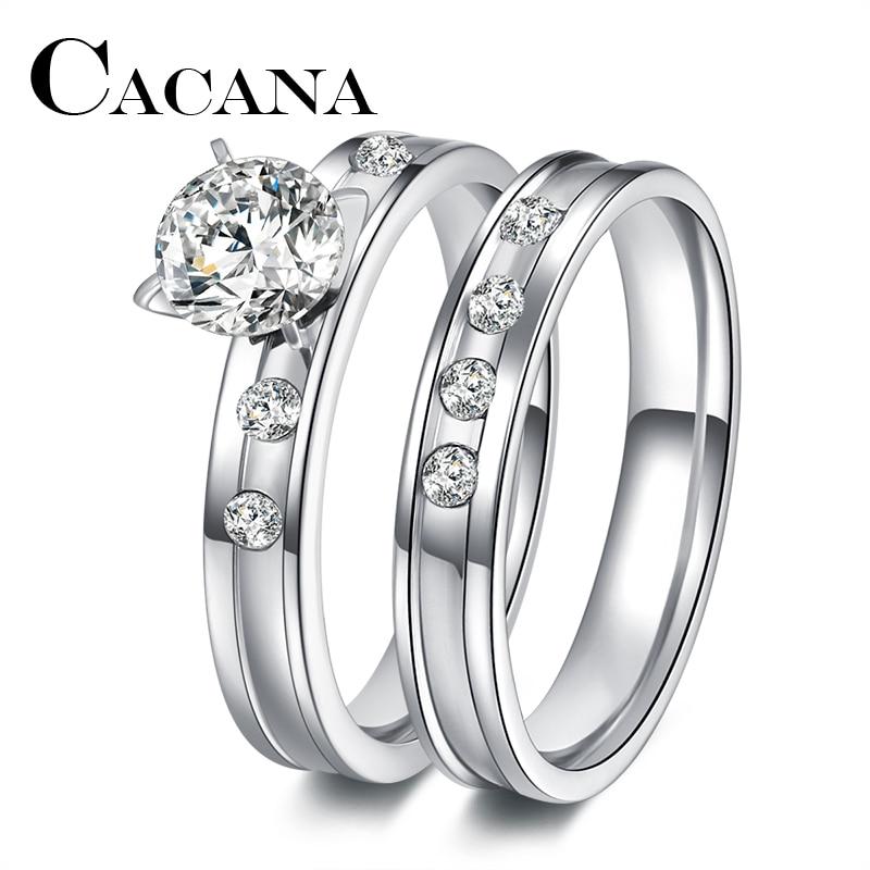 Anel de casamento de aço inoxidável para os amantes ip prata cor cristal cz par anéis conjunto masculino