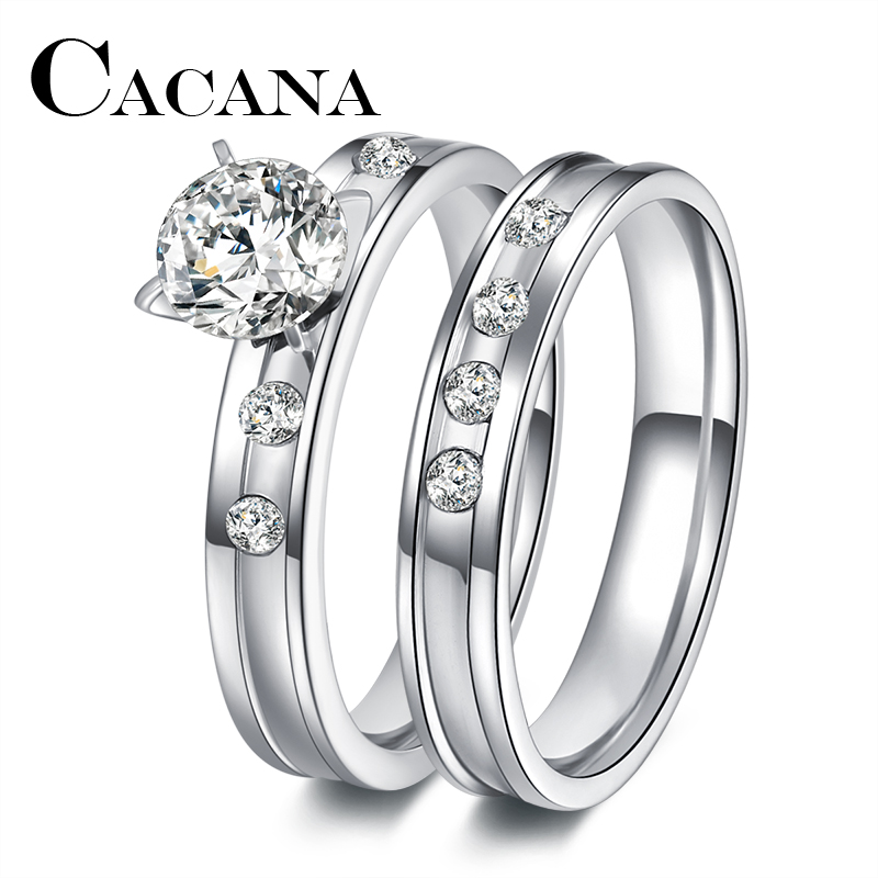 CACANA Stainless Steel Wedding Ring For Lovers IP SILVER Color Crystal CZ Couple Rings Set Men Women Engagement Wedding Rings