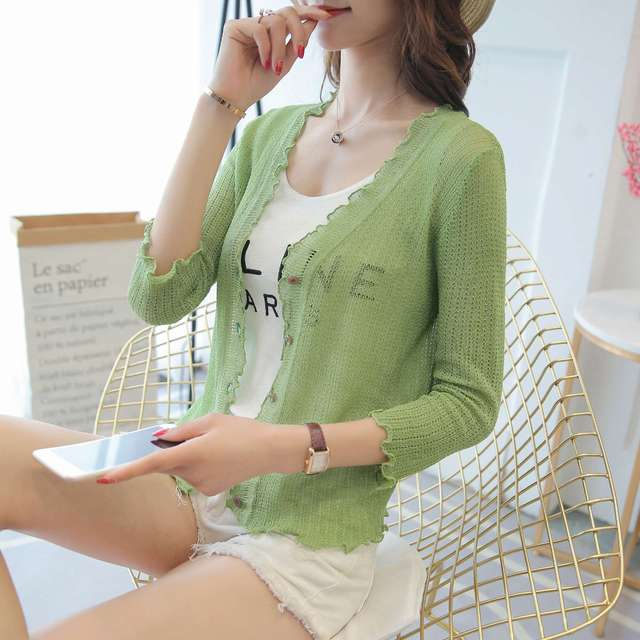2018 new Cardigan female The summer air-conditioning short silk cardigan shirt a thin coat of black fungus 6