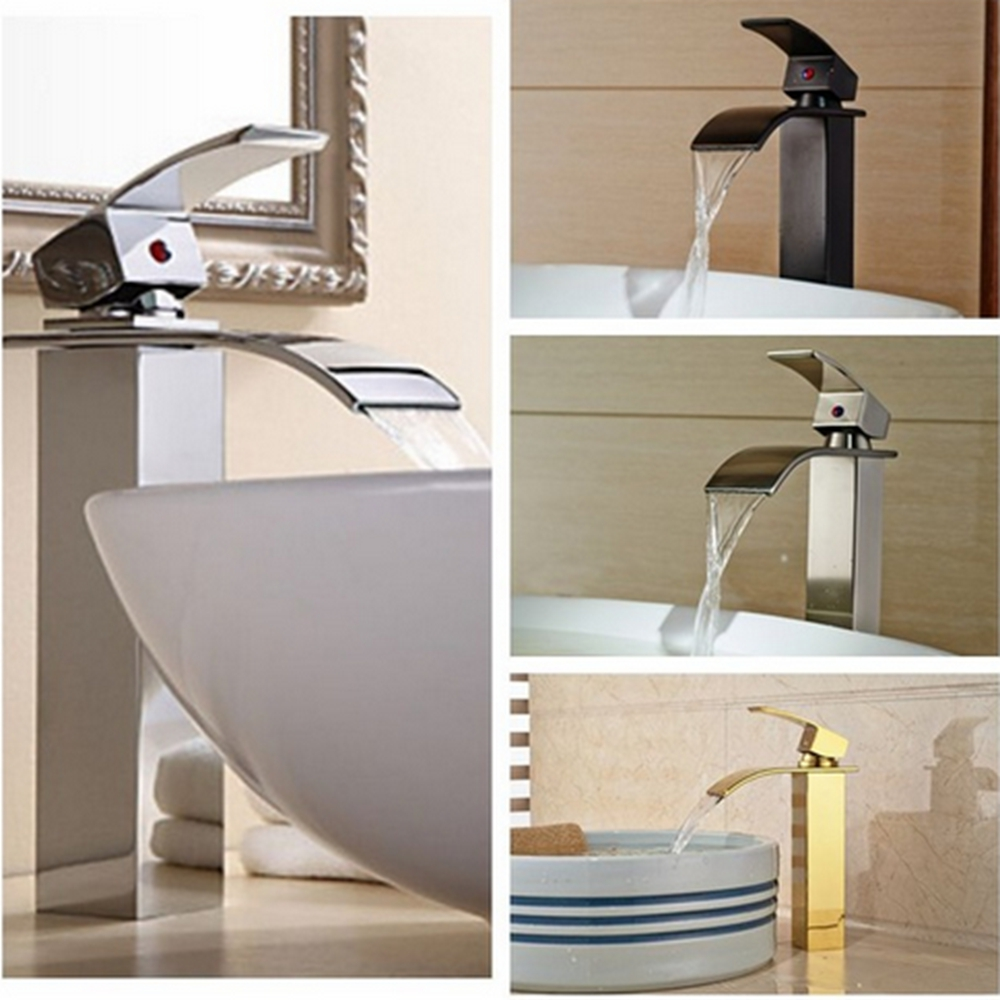 Waterfall Spout Solid Brass Bathroom Basin Faucet Single Handle Hole Vanity Sink Mixer Tap chrome finished bathroom sink tub faucet single handle waterfall spout mixer tap solid brass page 4