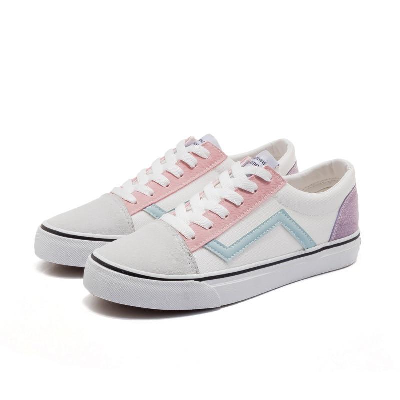 Plat blanc Sport Couleur Classiques Été Simple Chaussures Correspondant Coréenne Toile Version De 2018 Et Noir Femelle Style Nouveau ZqHzwzT