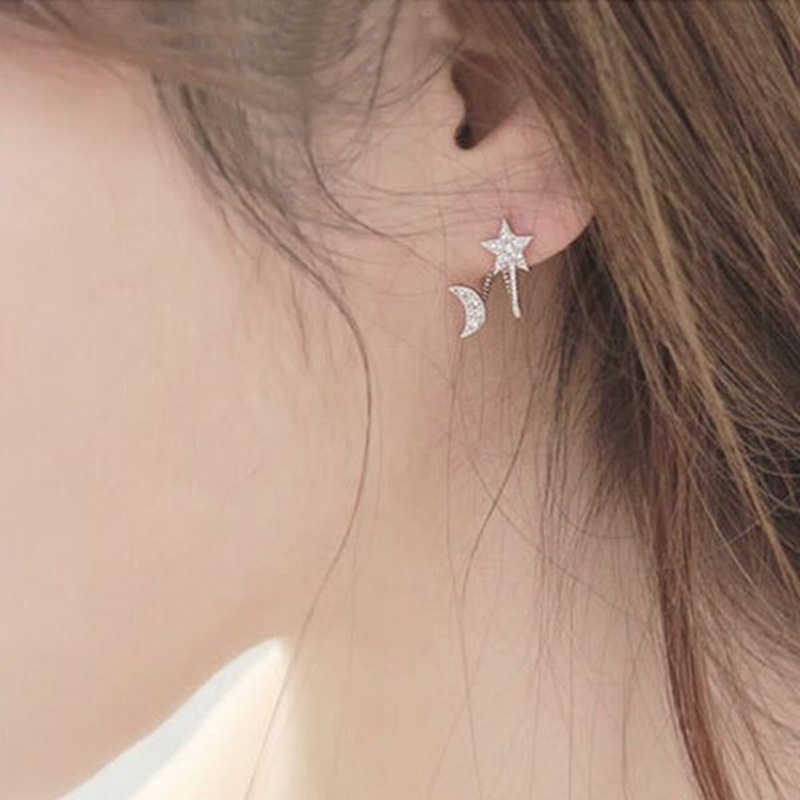 Hot 1 คู่สุภาพสตรี Elegant Rhinestone คริสตัลแฟชั่นต่างหู Charm Moon Star EAR STUD หู 925 เงินสเตอร์ลิงต่างหู