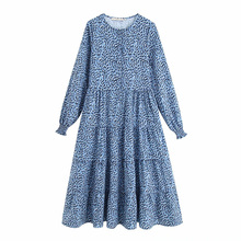 O-Neck Dress Womens Casual Geometric Printed Summer Fashion Loose Beach Ankle-Length Dresses