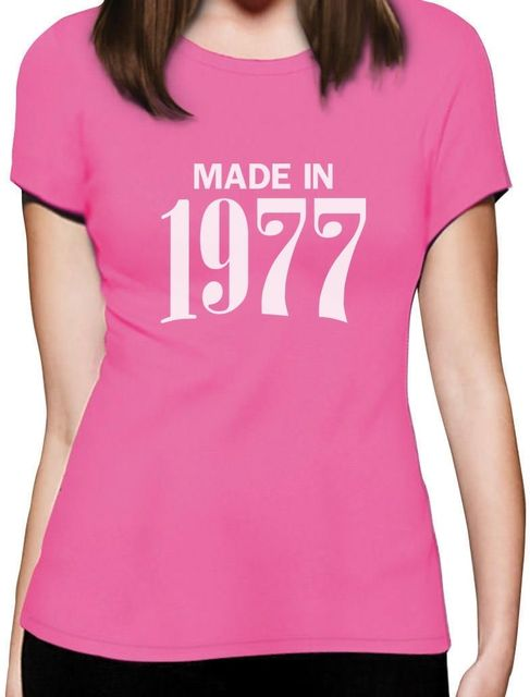Made In 1977 Retro 40th Birthday Gift Women T Shirt Bday Present 2017 Summer Funny Print Female Shirts Kawaii Lady