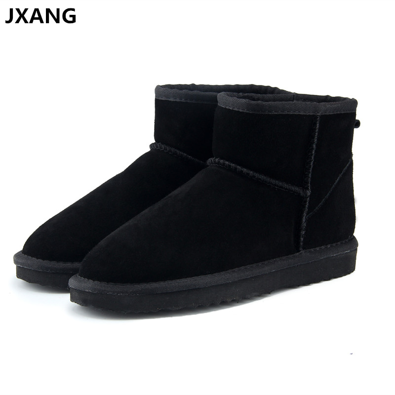 JXANG High Quality UG Australia Brand Winter Women's Snow Boots Cow Split Leather Ankle Shoes Woman Fur Botas Mujer Big Size high quality snow boots 2017 autumn and winter new australia s 100