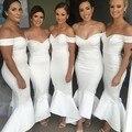 Longo vestido 2017 Da Sereia da Luva do Tampão Querida Cetim Stretch Branco Longo Da Dama de honra Vestidos vestidos de fiesta largos elegantes