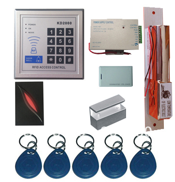 New Upgrade 3,000 Users Complete Standalone RFID Door Access Control System Kit with Bolt Lock metal rfid em card reader ip68 waterproof metal standalone door lock access control system with keypad 2000 card users capacity