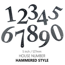 127mm 5inch Big House Number Hammered Style Door Address Number Digits Carbon Steel Black House Door Address Sign #0-9 plastic sliver house number 70mm 0 1 2 3 4 5 6 7 8 9 plaque number house hotel door address digits sticker plate sign
