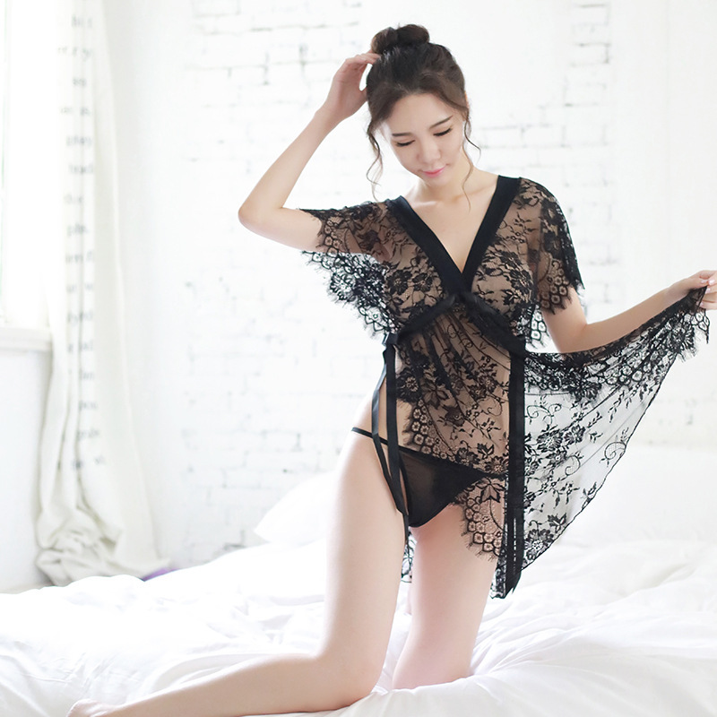 Detail Feedback Questions About Black Lace See Through Porn Sleep Wear With Thong Sexy Night Dress Womens Lingerie Night Gown Babydoll Lingerie Porno