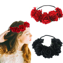 лучшая цена Kids Rose Flower Garland Crown Headband Headwear Bridal Hair Band Black Red Classical Color