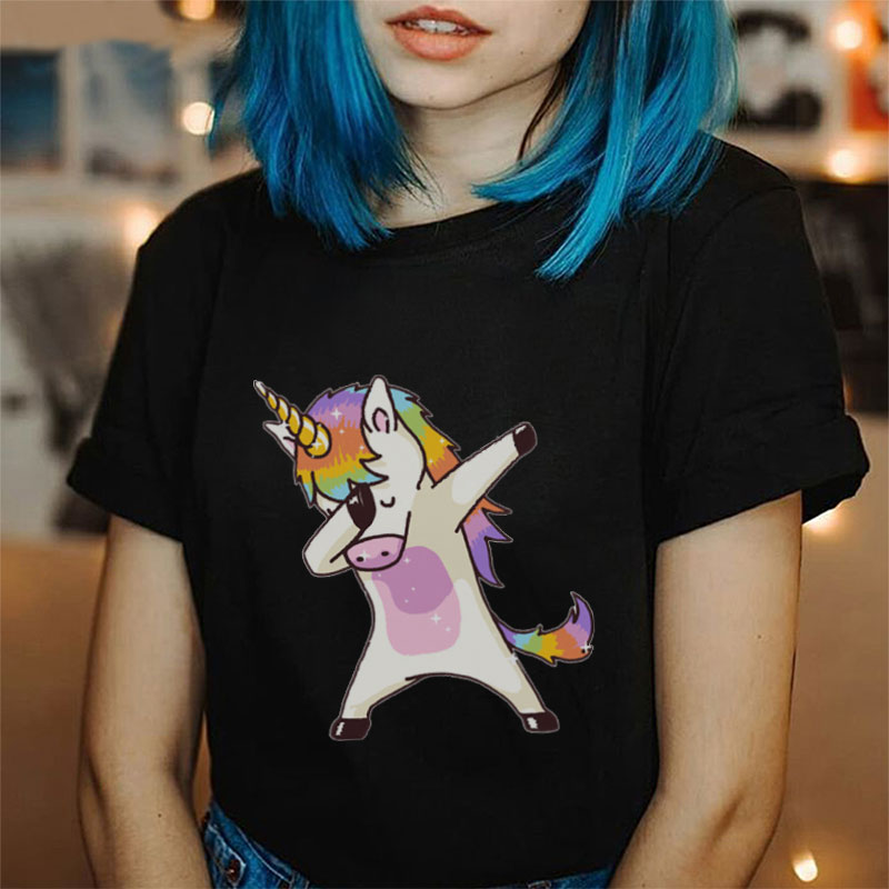 Summer 2019 Harajuku Kawaii Unicorn Tee Shirt Femme Funny Cartoon Hip Hop Dancing Unicorn <font><b>Black</b></font> Shirt New Fashion Women <font><b>Tshirts</b></font> image