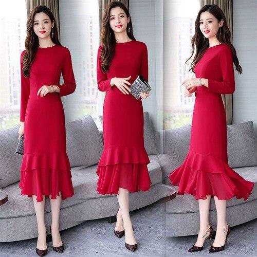 Sirène Soirée bleu Automne Noir 2018 Mode Robes Doux Printemps Femmes Longues Casual Manches rouge Robe Élégant De PwZOdwq