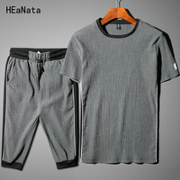2018 New Summer Spoting Suits Men Fashion Tracksuit Sets Casual 2 PCS Tshirt Shorts Sweatpants Fashion