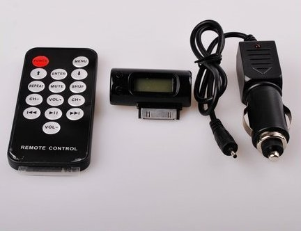 Wireless FM Transmitter + Car Adapter Charger Remote control for Apple iPhone 4 3G 3GS iPod Free Shipping
