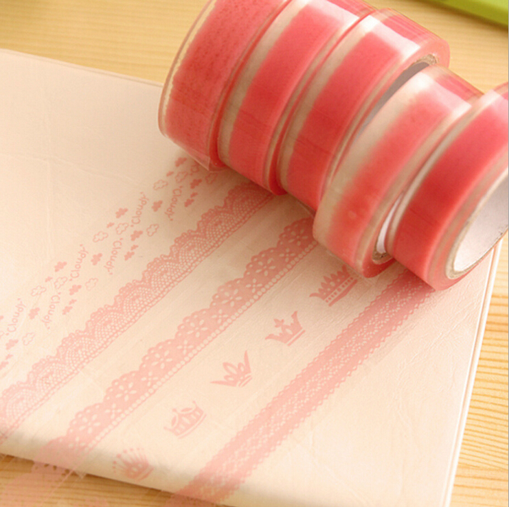 все цены на  10pcs/lot Pink Lace Personality Roll DIY Washi Paper Decorative Sticky Paper Masking Tape Self Adhesive Office Supplies Color  онлайн