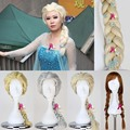 2013 New Cartoon Movie Froze Snow Queen Elsa Anna Wig Long Braid Cosplay Anime Wig Classic Halloween Hair