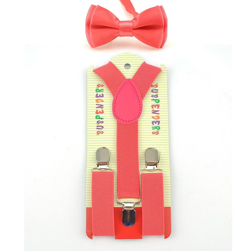 Hot !! Kids Suspenders 2016 Boys Girls Adjustable Elastic On Baby Clothing Accessories Suspenders Belt+Bow Tie Set 22 Colors