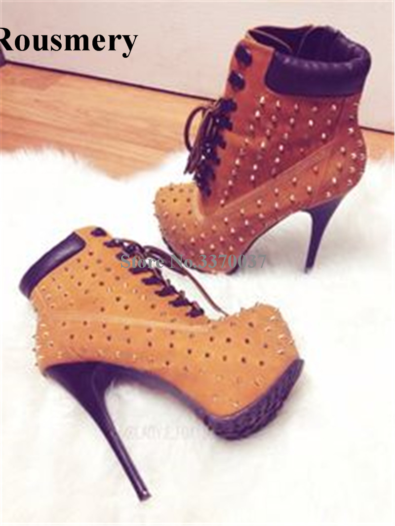 Hot Selling Women Fashion Round Toe High Platform Spike Ankle Boots Sexy Thin Heel Rivet Boots Stiletto Heel Pumps Shoes цена