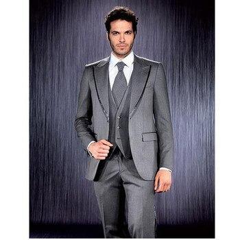 New Grey Wedding Suits For Men Custom Made Peaked Lapel Groom Tuxedo Groomsman Mens Suit For Wedding (jacket+Vest+pants)