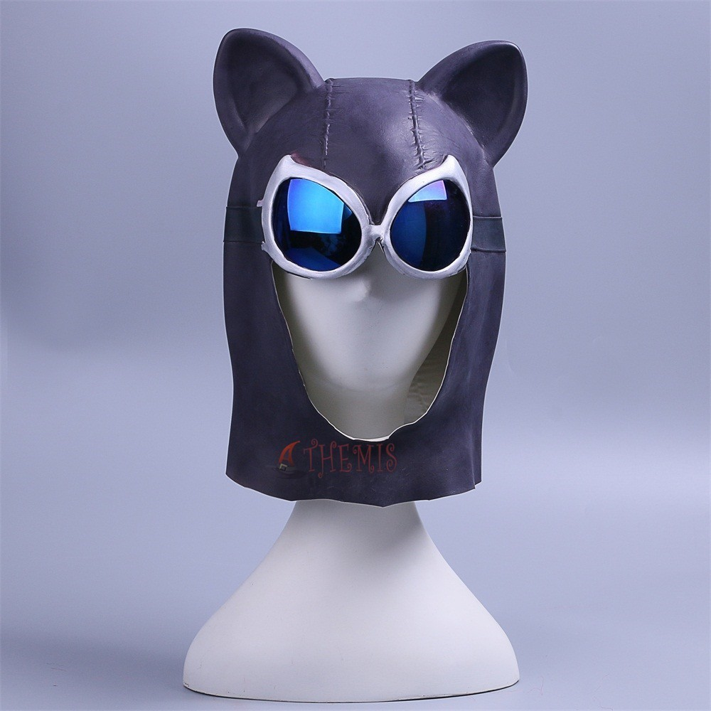Athemis Catwoman Cosplay Mask Batman Sexy Black Latex Full Head Helmet Eye Glasses Props Party Halloween Fancy Dress Ball