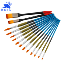 Bgln 14Pcs/Set Nylon Hair Professional Acrylic Paint Brush Pointed Round Brush Acrylic Painting Brush Art Supplies