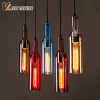 Vintage Industrial Loft Colorful Red Wine Bottle Glass Ceiling Light Novelty Restaurant Cafe Bar Hanging Lamps