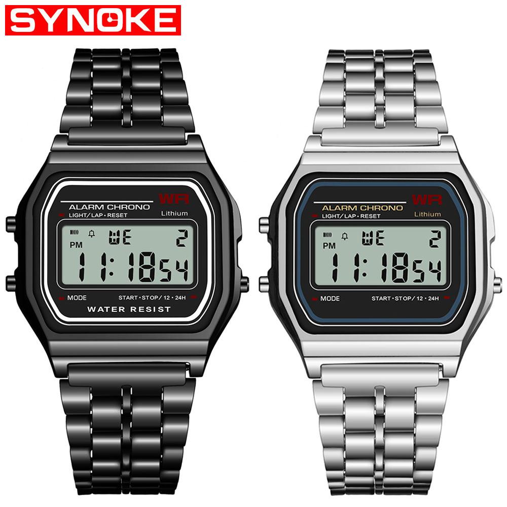 88646b00c19 SYNOKE homens novo relógio digital de senhoras retro G vibração esportes  digital LED relógio à prova
