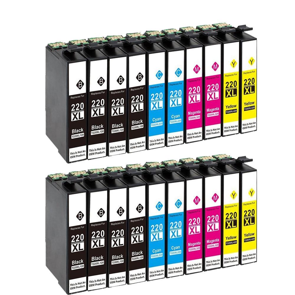 5PK 220XL Ink For Epson XP-320 XP-420 XP-424 WF2630 WF2650 WF2660 WF2750 2760