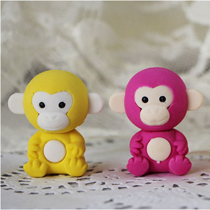 1X Cartoon Assemble Eraser Mini Monkey Modelling Eraser Children Stationery Gift Prizes Kawaii School Office Supplies Papelaria