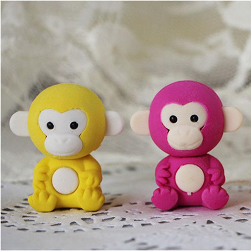 1X Cartoon Assemble Eraser Mini Monkey Modelling Eraser Children Stationery Gift Prizes Kawaii School Office Supplies Papelaria