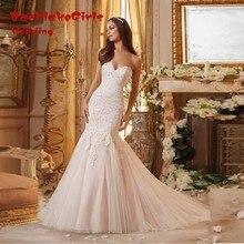 Delightful Long Bridal Sweetheart Neckline Full Appliques Tulle Mermaid Wedding Dresses 2017 Custom Made