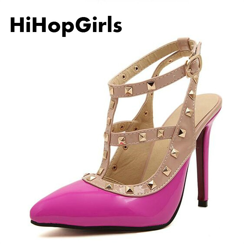 HiHopGirls Hot Women Pumps Ladies Sexy Pointed Toe High Heels Fashion Buckle Studded Stiletto High Heel Sandals Shoes Large Size koovan women pumps 2017 pointed high heeled shoes pink pearls wild night clubs single buckle women s sandals ladies summer