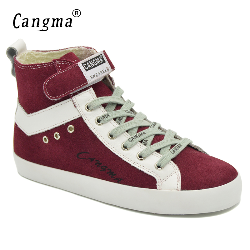 CANGMA Designer Woman's Boots Wine Red Casual Shoes Genuine Leather Sneakers Women Lace Up Cow Suede Shoes Ankle Boots Female cangma original casual shoes women sneakers lace up black cow suede footwear female genuine leather mid leisure shoes for woman