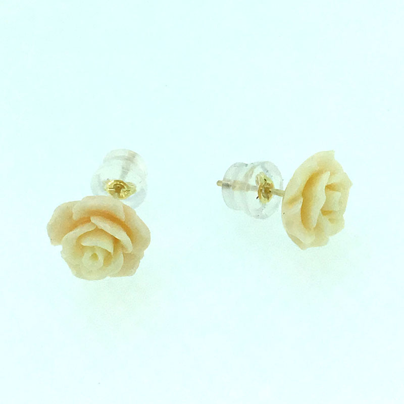 ANI 18K Yellow Gold AU750 Women Stud Earrings Natural Color Coral Flowers Fashion Engagement Stud Earrings