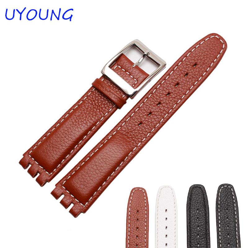 Prix pour Qualité véritable bracelet en cuir 17mm remplacement bracelet en cuir pour hommes et femmes JEC YAS CGY noir bracelet