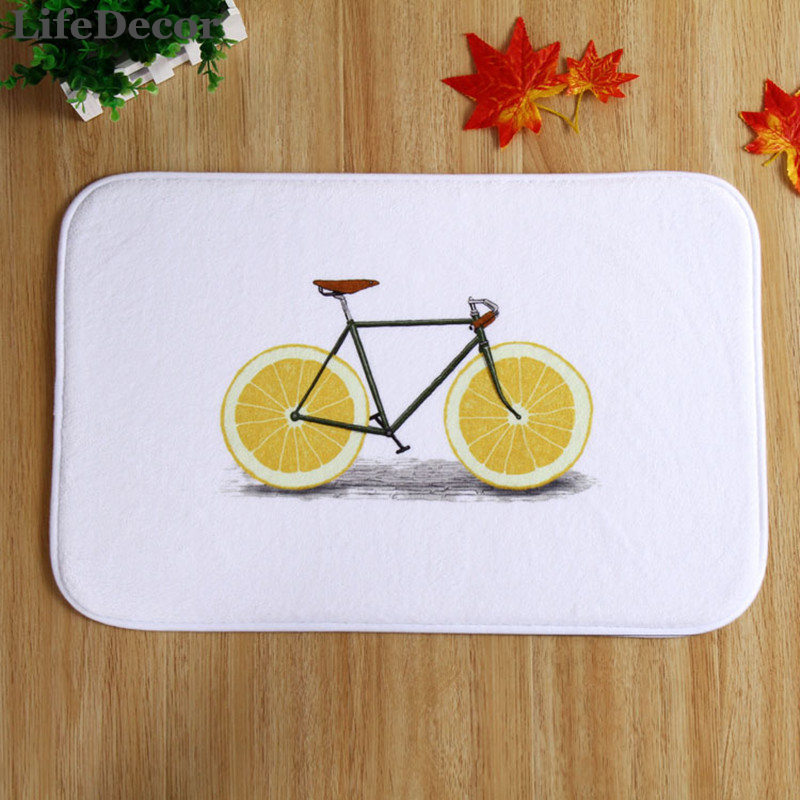 New 40x60cm Lemon Bicycle Bath Mat Non-slip Mats Quality coral velvet Rug Shower Carpet for Bathroom Kitchen