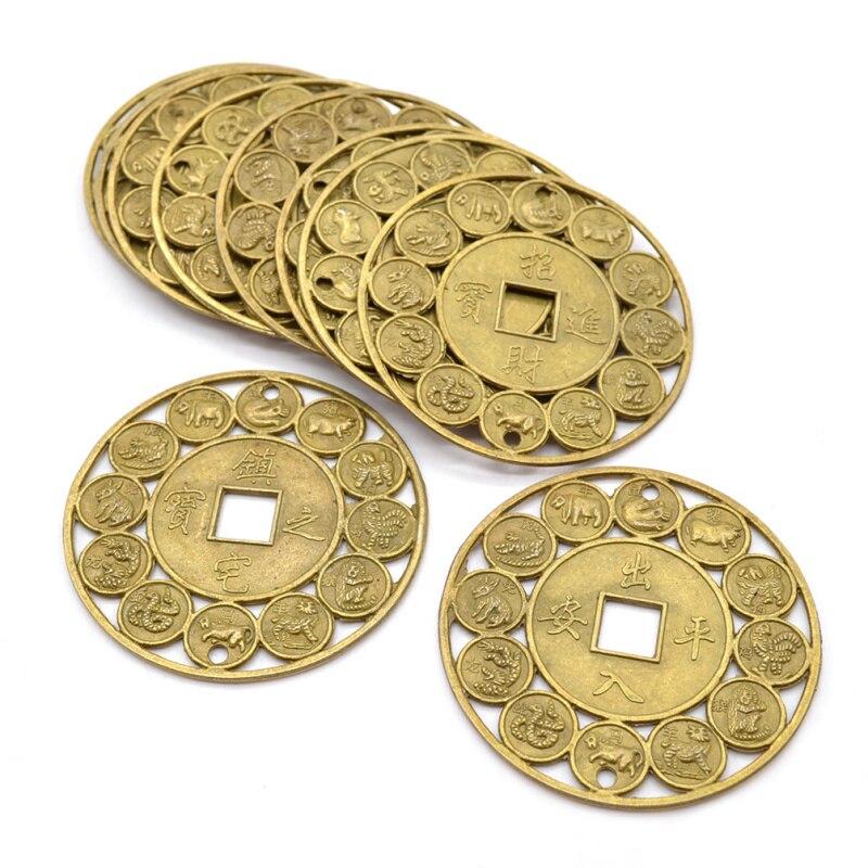 10 шт. случайный Стиль Лаки Китайский Зодиак фэн-шуй Медь монеты добрыми пожеланиями удачи защиты