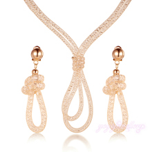 Rope Design Stardust Necklace and Stardust Earrings Sets Wire Mesh Net Crystal Jewelry Sets For Women