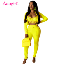Adogirl Fluorescent Color Women Leisure Suit Fashion Two Piece Set Long Sleeve Blazer Crop Top Pencil Pants with Belt Streetwear