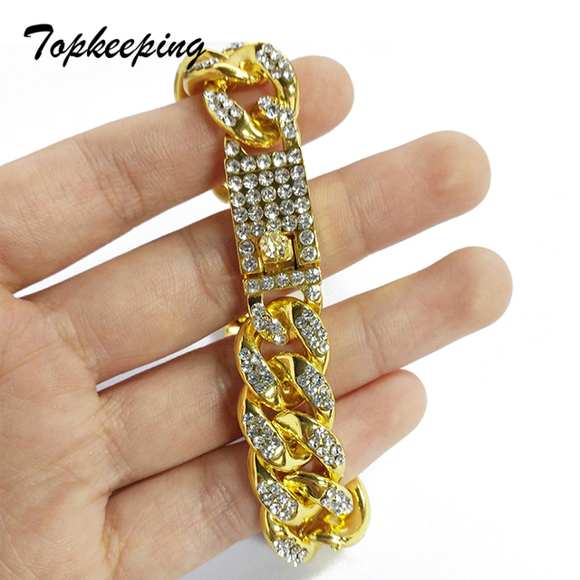 Mens Luxury Gold Color Iced Out Rhinestone Fashion Bracelets & Bangles Miami Cuban High Quality Link Chain Bracelet for Hip Hop 1