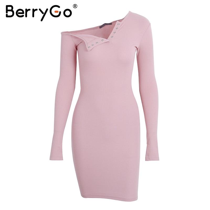 BerryGo Elegant off shoulder bodycon dress Long sleeve short evening party club white dress Women autumn winter black sexy dress 23