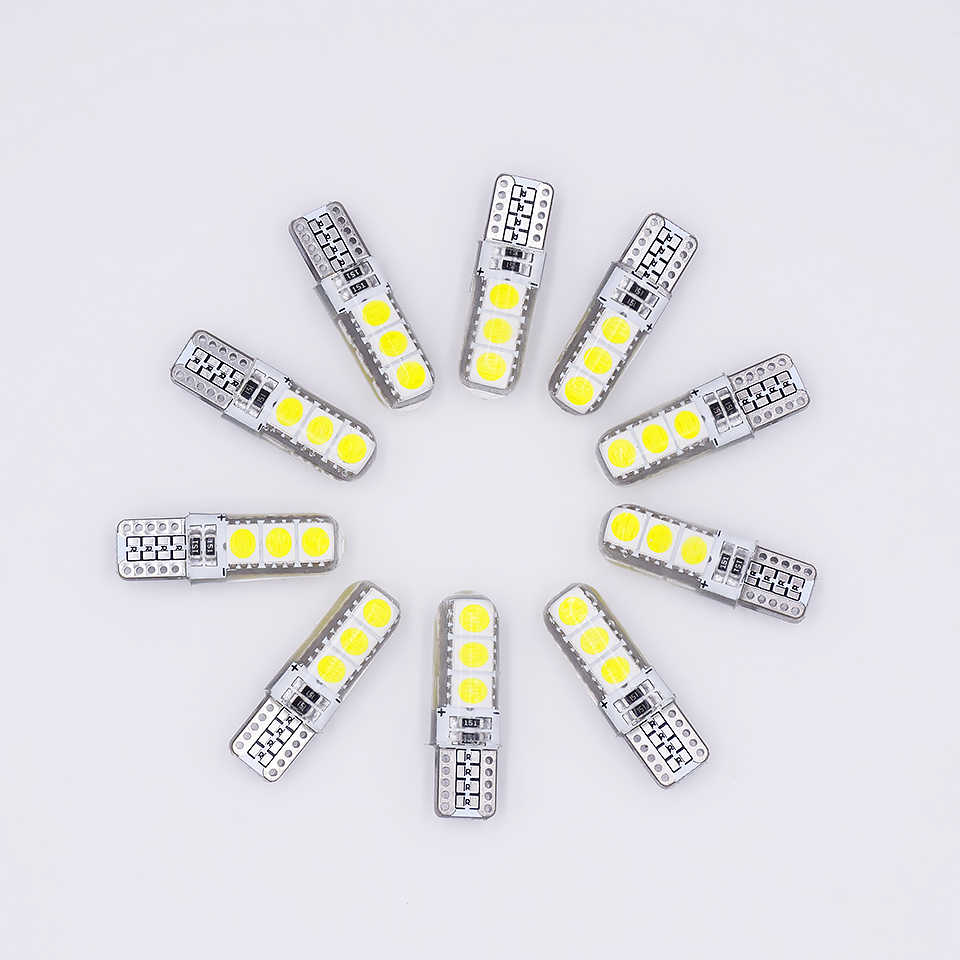 10 PCS T10 LED W5W 194 Car LED Light Bulbs 12V 5050 6 SMD Silicone Auto Clearance Lights Interior Dome Trunk License Plate Lamp