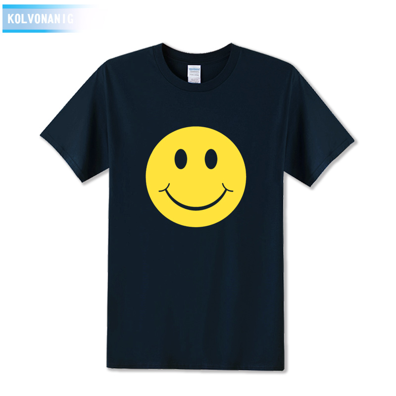 KOLVONANIG 2017 New Fashion Cute Acid Smiley Face Expression Printed Mens T Shirt Short Sleeve O Neck Cotton T-Shirt Top Tees
