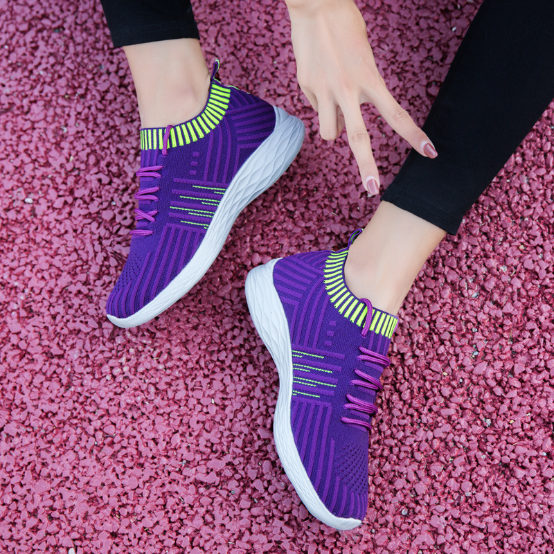 Taille Sur Black 2019 Femme Chaussette Tricot Femmes B Des Ressort Sneakers De Plate forme purple Glissement La Chaussures gray Casual pink Chaishou Dames Plus Mode 163 BadIqaw