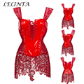 Новая Мода Sexy Готический Черный/Красный Корсет Overbust ПВХ Виниловый Бюстье Платье Lace-up Топ Панк Club S-6XL Быстрая доставка