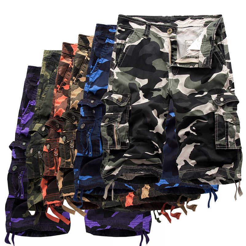6 สี 2020 ฤดูร้อนใหม่บุรุษกางเกงขาสั้น Camouflage Cargo ชายหลวมทำงานทหารสั้นกางเกง PLUS ขนาด 29-40