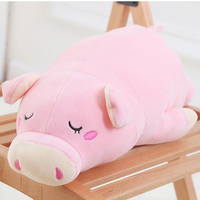 Super Kawaii Plush Sleepy Piggy Toys Pillow Super Soft Stuffed Pig Piglet Dolls Best Gifts for Kids Friends Baby 32*13CM
