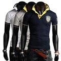 Nuevas llegadas hombres libres del envío camisa de polo bordado camisas de vestir de manga corta hombre 4 colores m-xxl c751