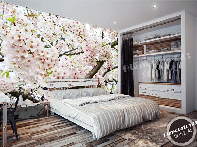 The custom 3D murals,beautiful  fresh flowers bloom pink cherry blossoms,living room sofa TV wall bedroom background wall paper